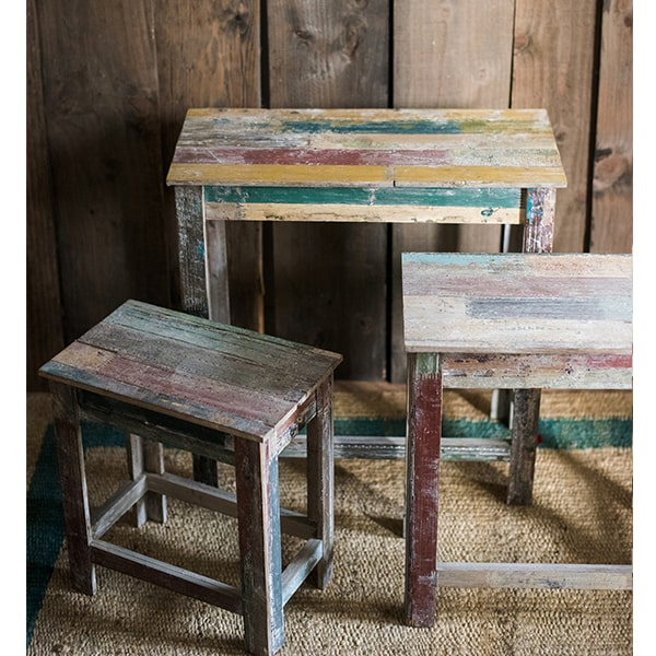Colorful Solidwood Plant Stand Side Table