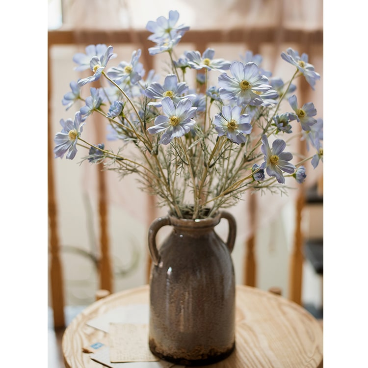 "Silk Cosmos Stem in Blue 24"" Tall"