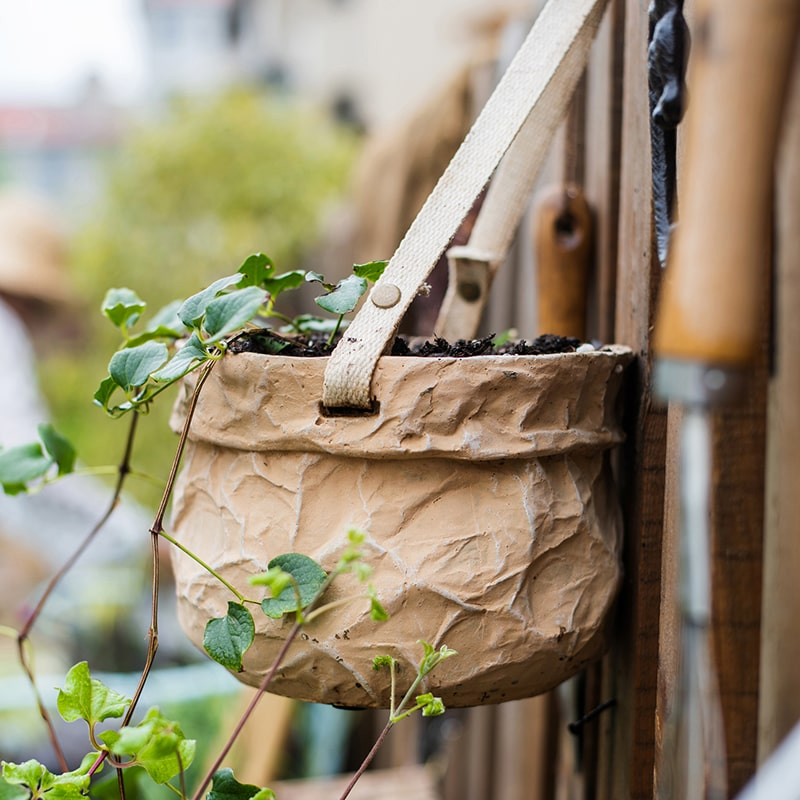 Craft Paper Bag Style Concrete Hanging Pot