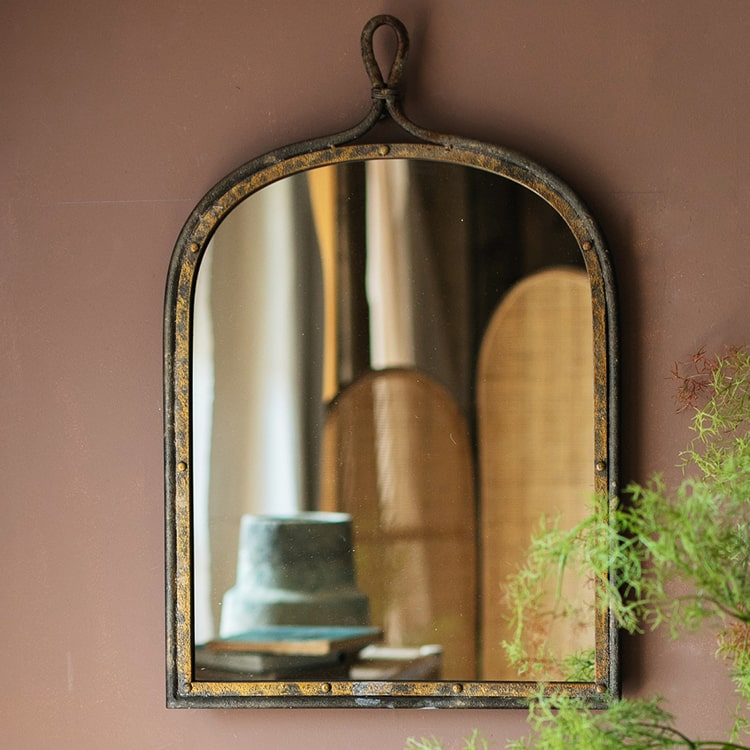 Antique Style Dark Iron Mirror