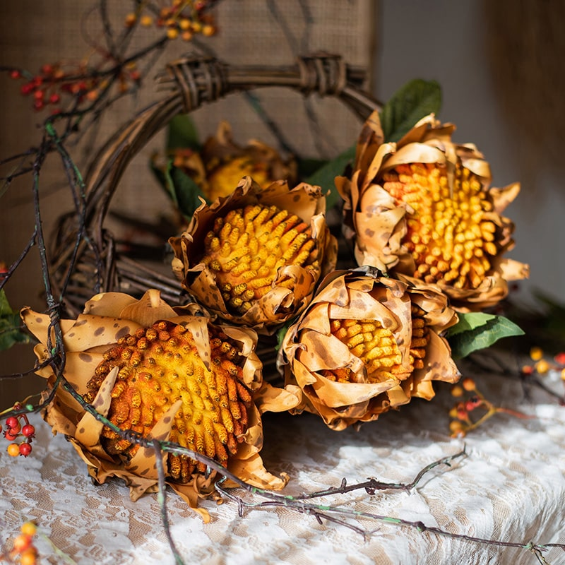 Artificial Flannel Sunflower Stem