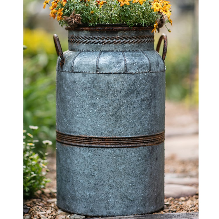 Restoration Flower Pot Gray Brown Round Metal