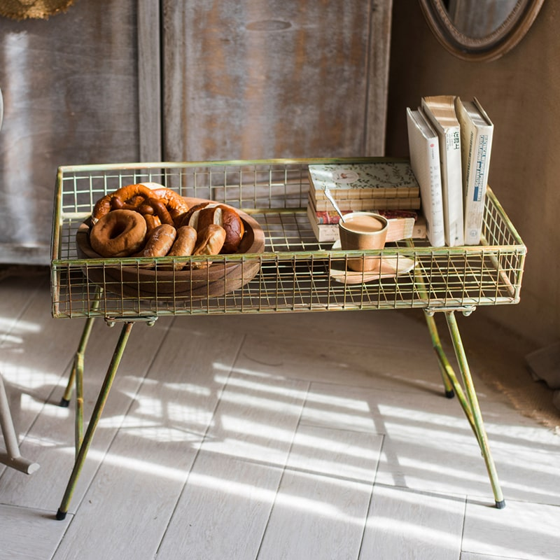 Green Metal Plant Stand Side Table