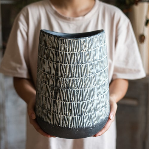 Geometry Line Ceramic Stoneware Flower Pot