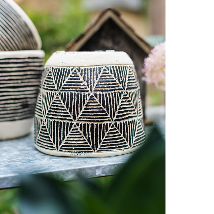 Geometric Art Concrete Flower Pot