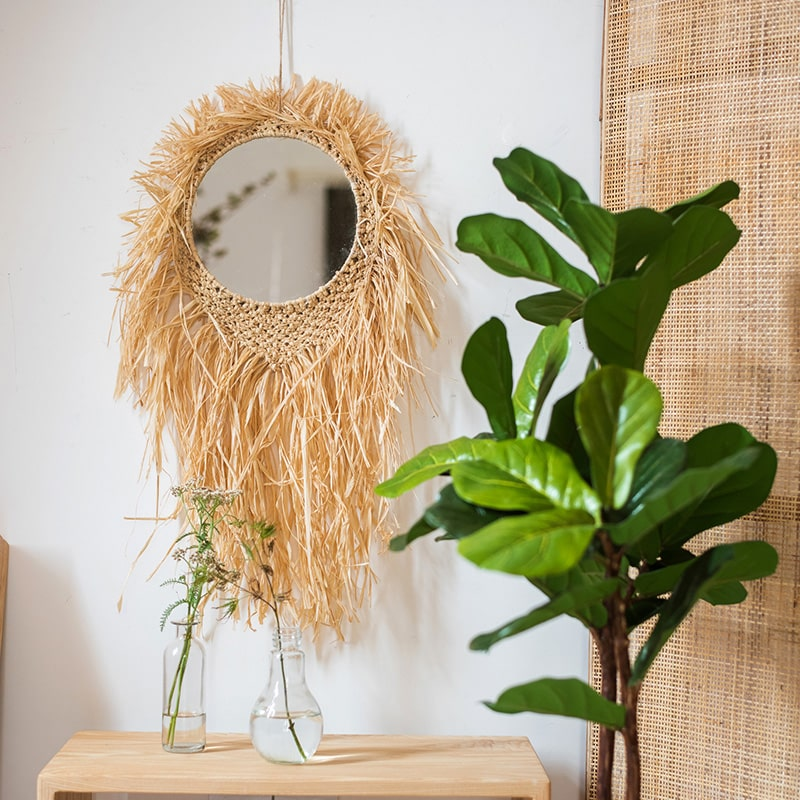 Handcraft Grass Hanging Round Mirror