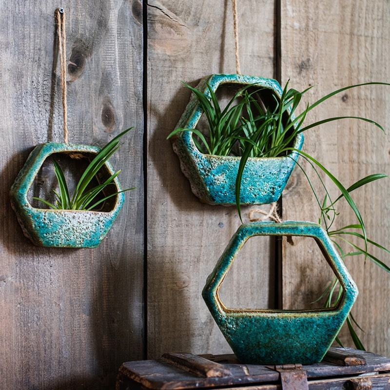Green Coarse Ceramic Wall Hanging Planter Hexagon