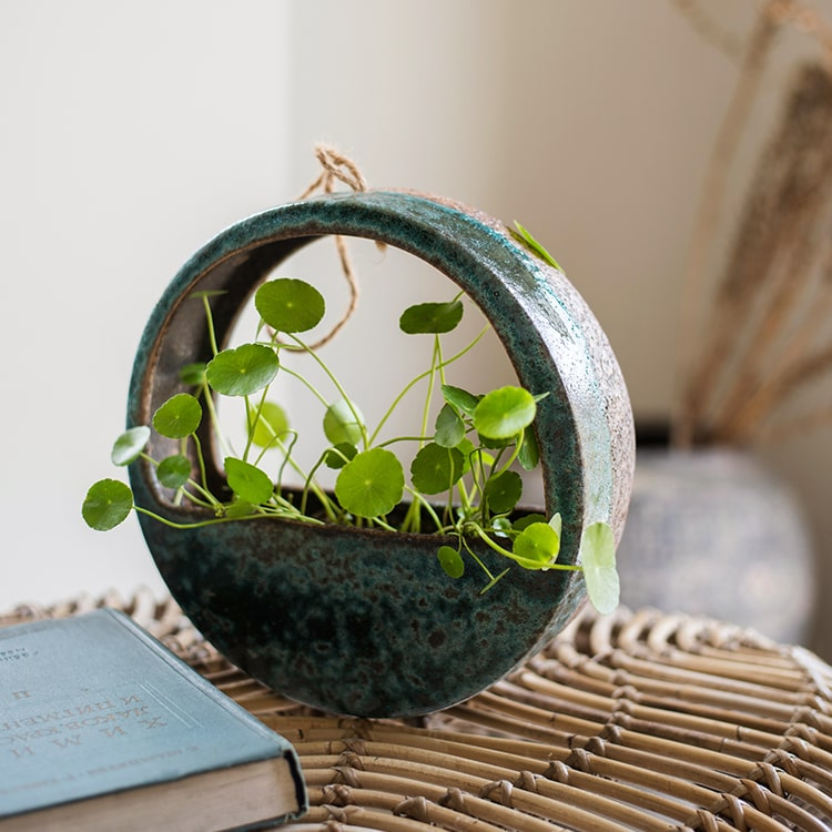 Green Coarse Ceramic Wall Hanging Planter Half Round