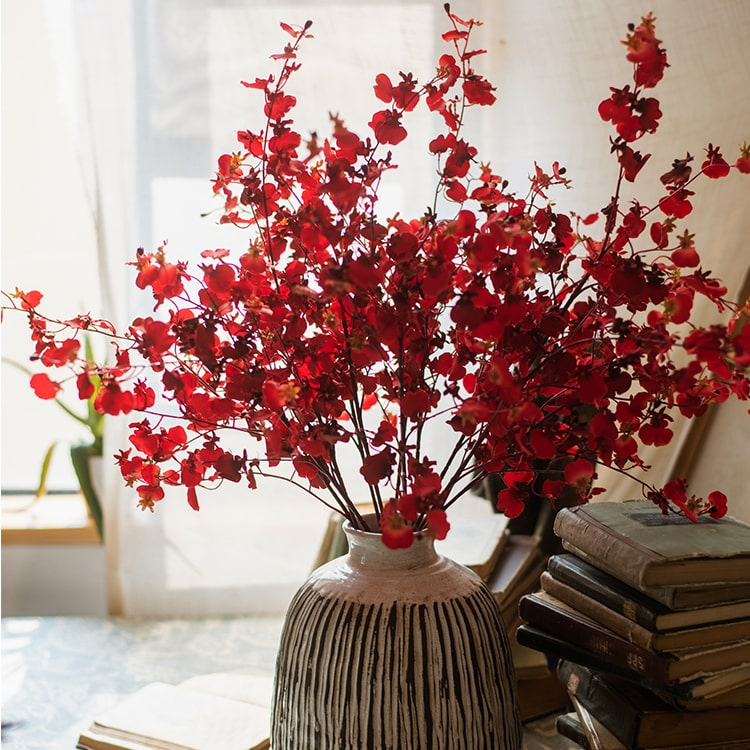 "Impressionist Oncidium Orchid Stem in Red 31"" Tall"