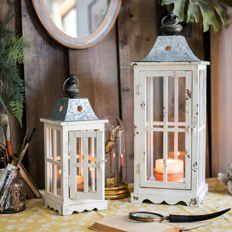 Lantern House Candle Holder in White
