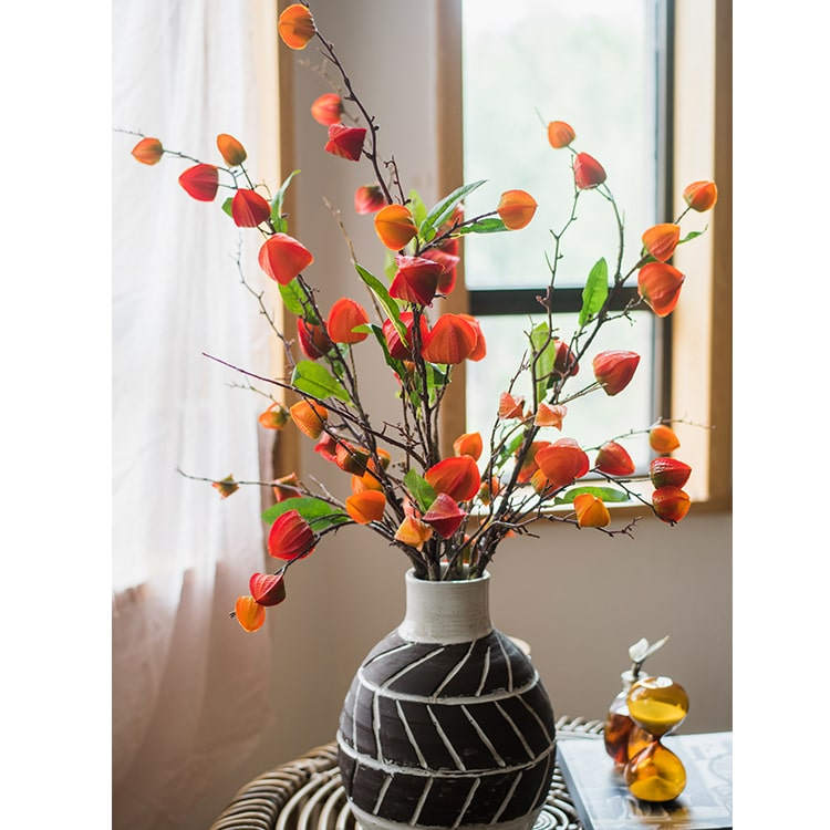 "Artificial Makino Fruit Stem in Orange Red 39"" Tall"