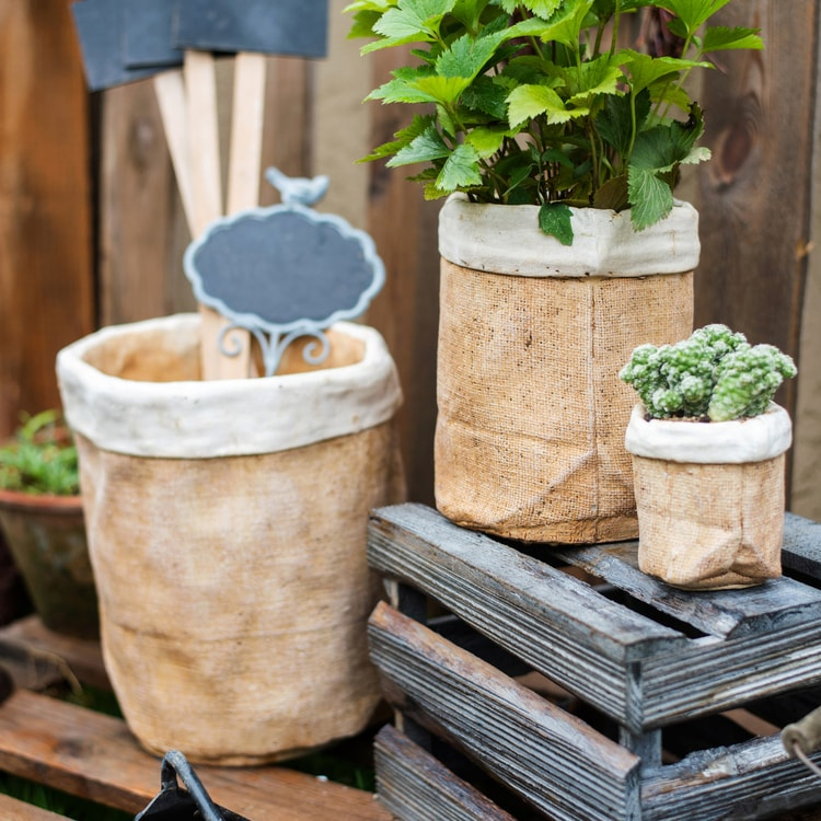 Paper Bag Style Concrete Garden Pot