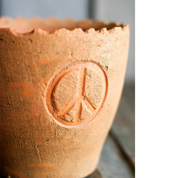 Peace Symbol Terracotta Pot