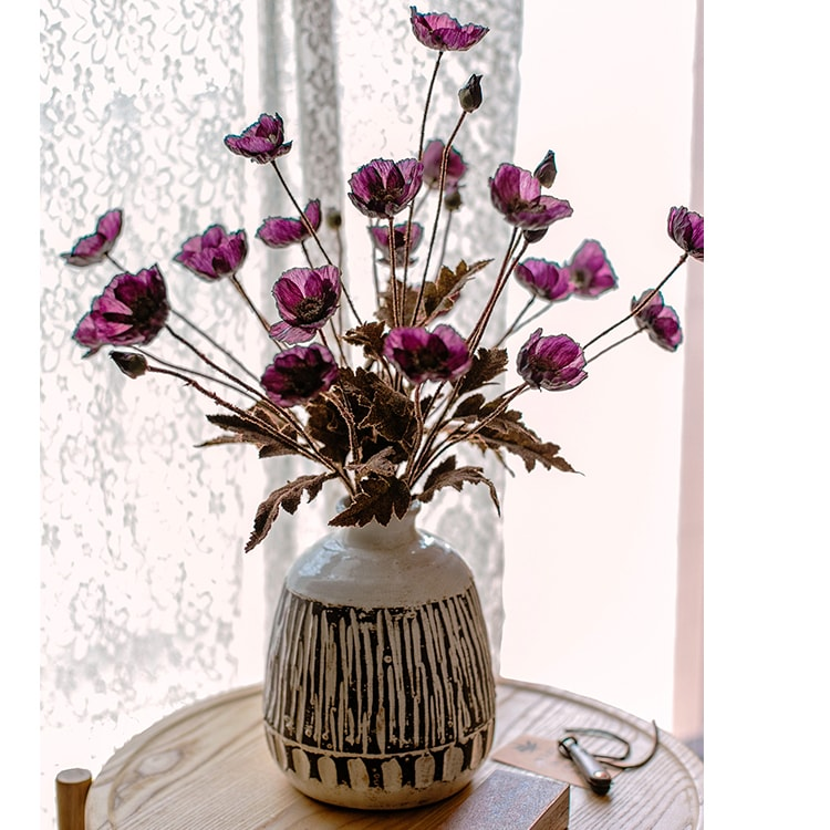 "Rustic Poppy Flower Stem in Purple 23"" Tall"