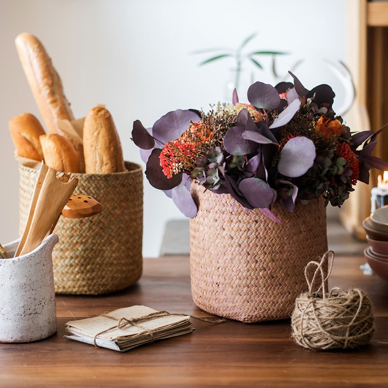 Natural Straw Basket in Different Colors