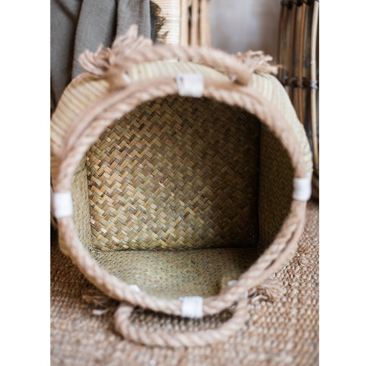 Straw Organizer Basket with Hemp Rope