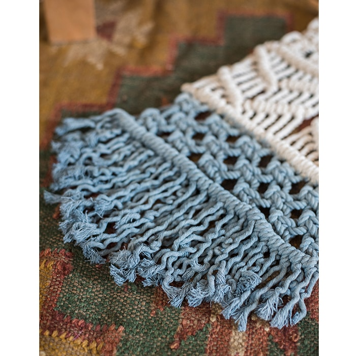 Knotted Wall Tapestry Blue