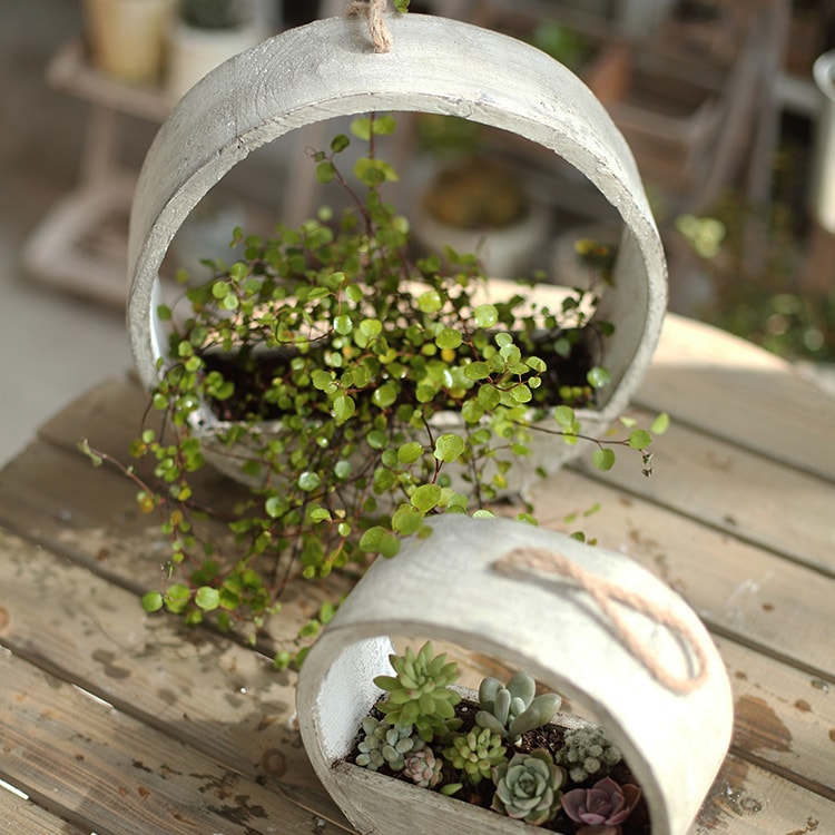 Solid Wood Hanging Planter Round Shape Planter
