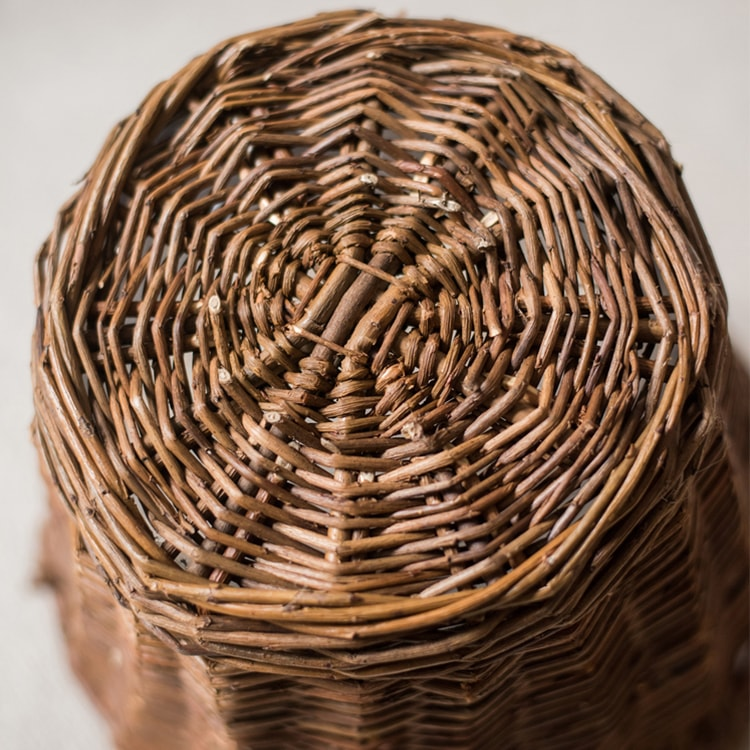 Willow Basket with Handles in Brown
