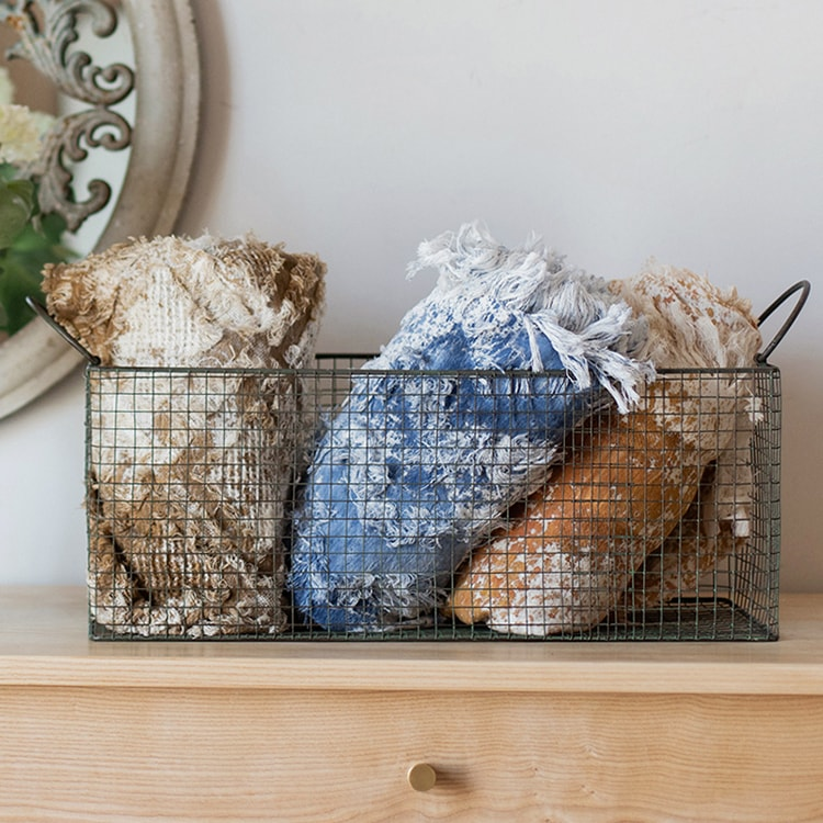 Rectangular Wire Basket with Handles
