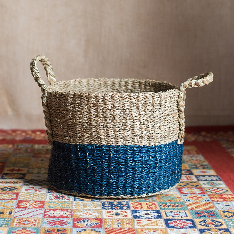 Organic Waterweed Straw Basket Blue