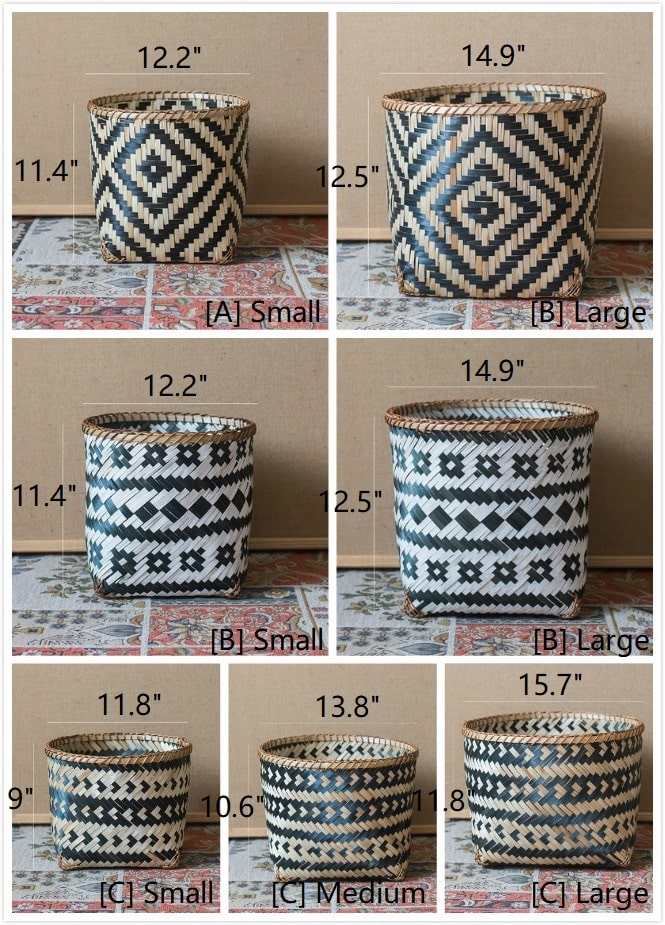 Woven Bamboo Basket Natural Basket with Patterns