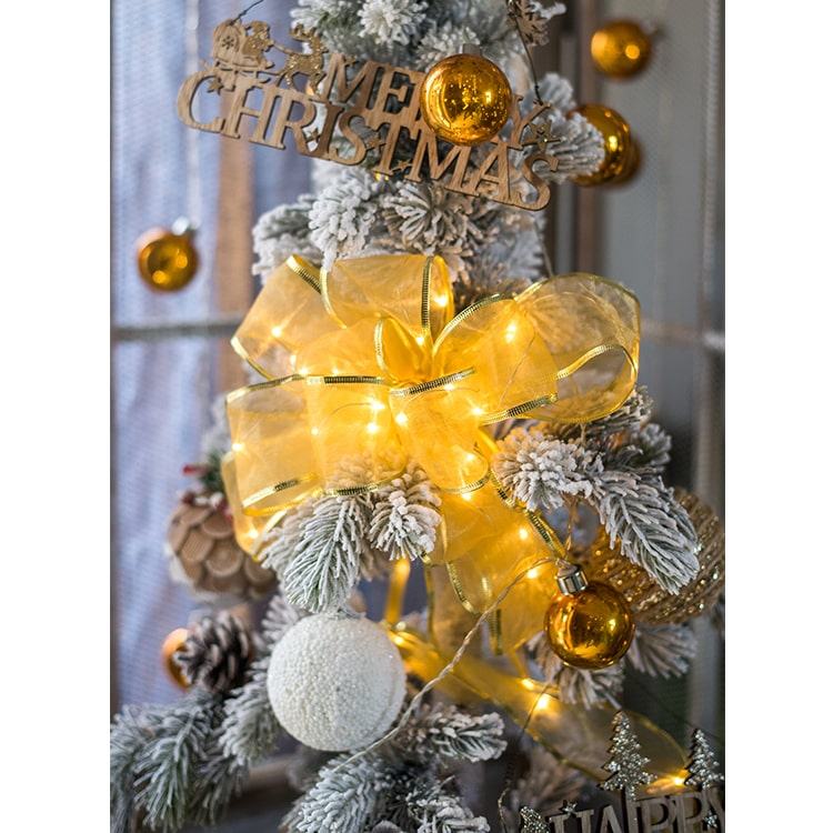 "Christmas Lighted Ribbon Wire Ribbon in Yellow 91"" Long"