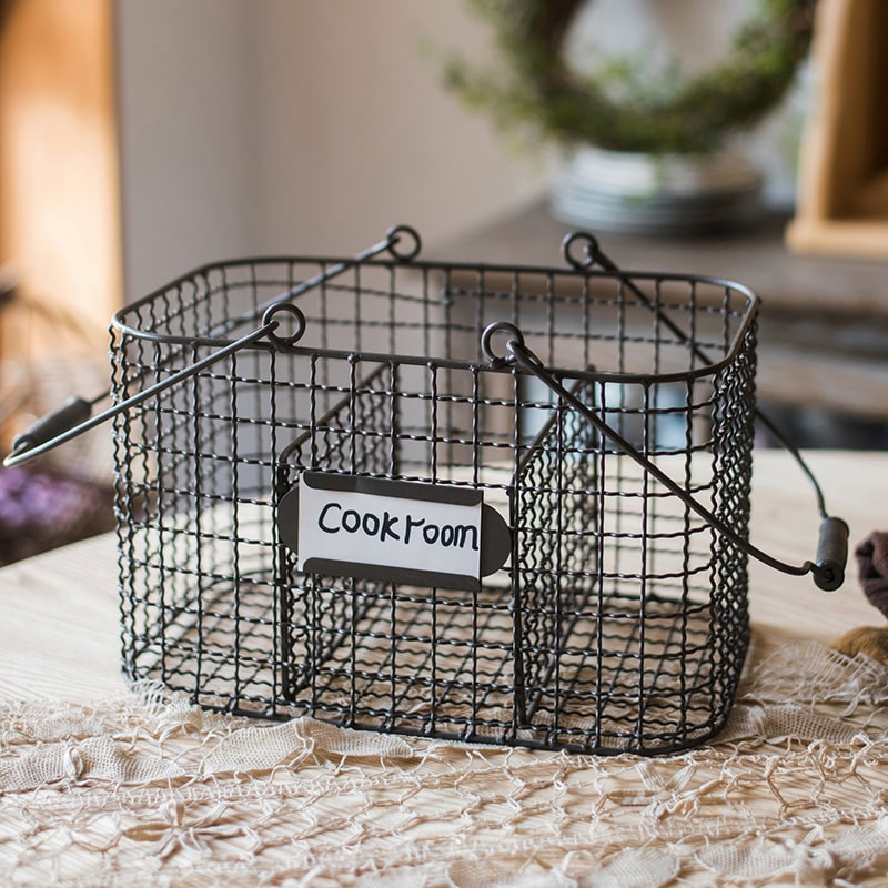 Wire Carry Basket With Hemp Rope Bottom Rectangular