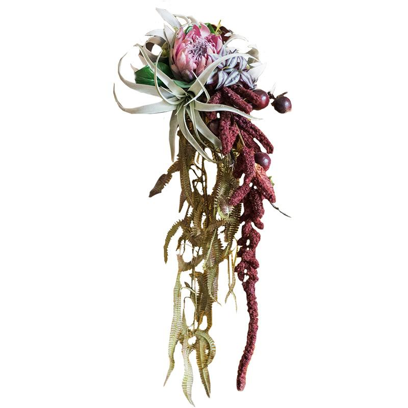 "Abstract Artist Flower Bouquet Red Hanging Bouquet 37"" Long RusticReach"