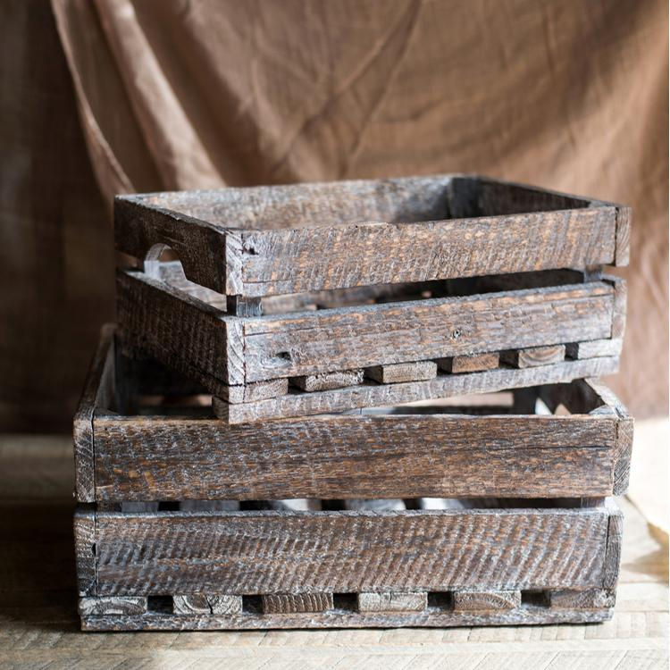 Antique Wood Crates Rectangular RusticReach