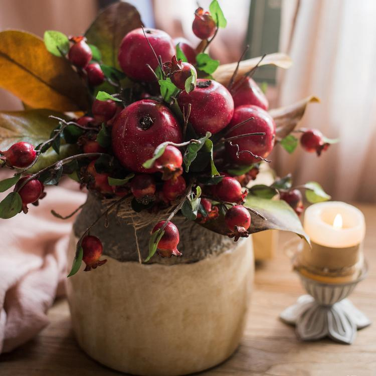 "Artificial Apple Pomegranate Bouquet 12"" Tall RusticReach"