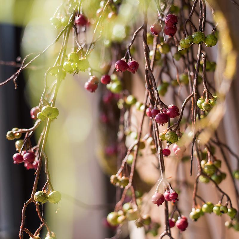"Artificial Berry Vines Green and Red 35"" Tall RusticReach"