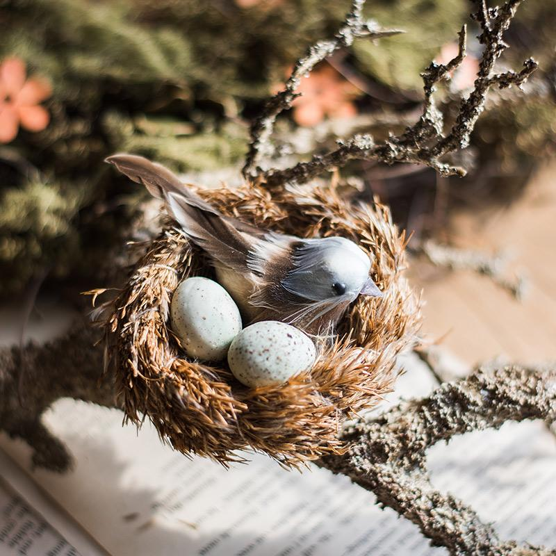 Artificial Bird Nest Ornament Randomly Picked Set of 2 RusticReach