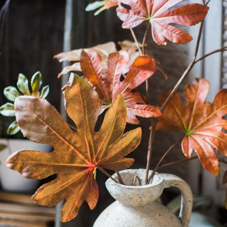 "Artificial Fatsia Leaf in Autumn Red 32"" Tall RusticReach"