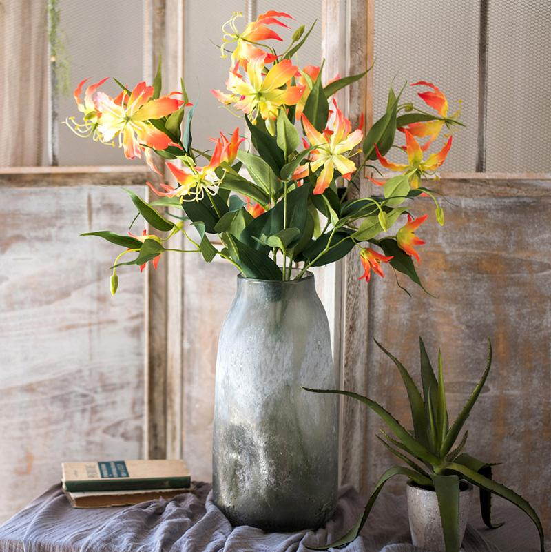 "Artificial Flame Lily Flower Stem 32"" Tall RusticReach"
