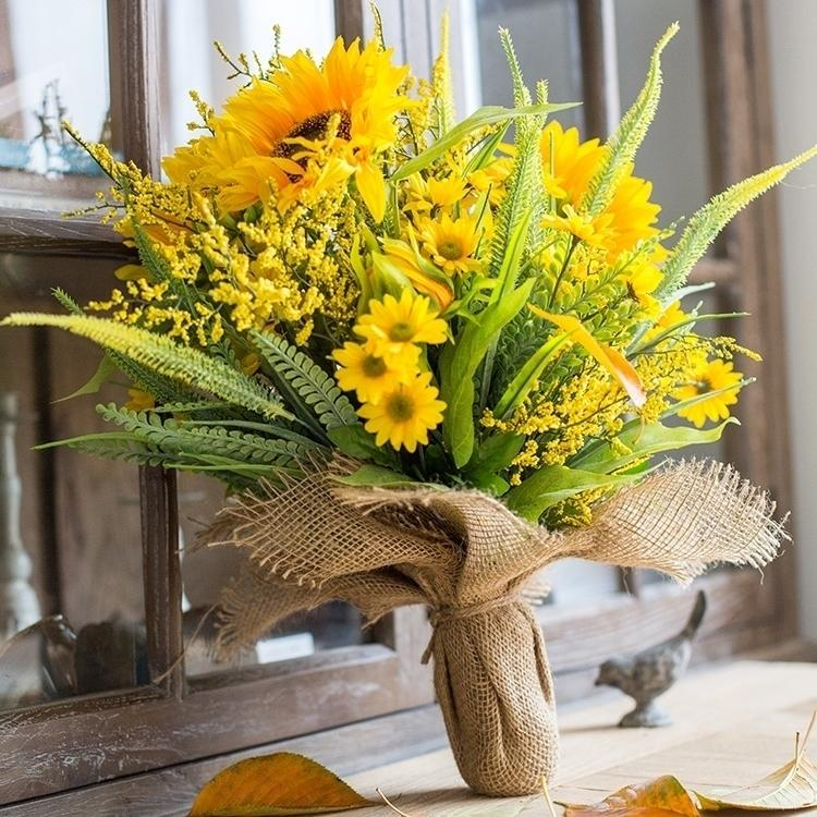 "Artificial Flower Bouquet Artificial Yellow Sunflower Bouquet 21"" Tall RusticReach"