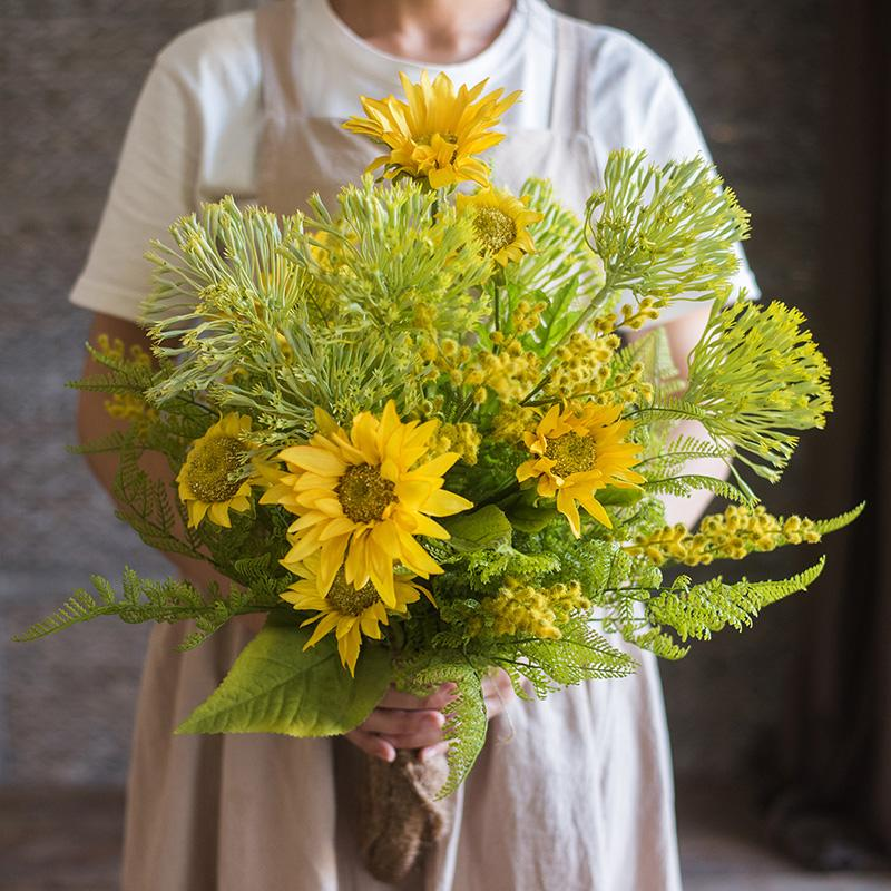 "Artificial Flower Bouquet Country Spring Sunflower Bouquet 23"" Tall RusticReach"