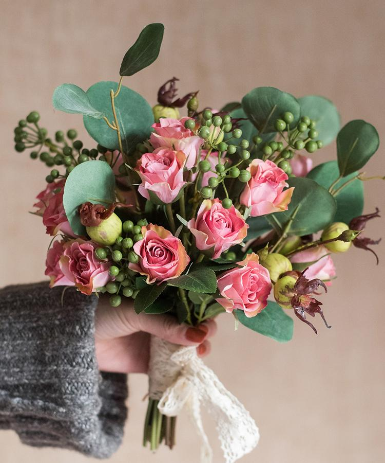 "Artificial Flower Bouquet Pink Rose Flower in the Greenery 12"" Tall RusticReach"