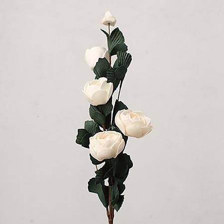 "Artificial Flower PE French Rose Bloom Stem Set in White 25"" Tall RusticReach"