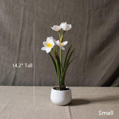 Artificial Flower Real Touch Daffodil Flower Bonsai RusticReach
