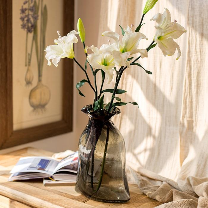 "Artificial Flower Real Touch Lily Stem in White 34"" Tall RusticReach"