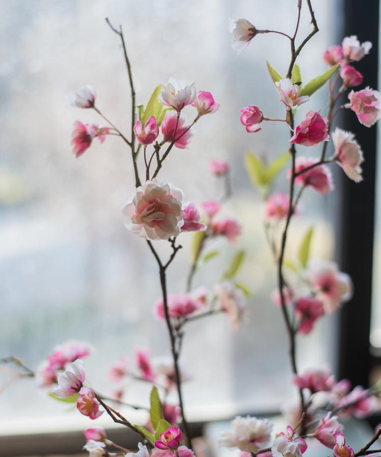 "Artificial Flower Sakura Blossom Stem 37"" Tall RusticReach"