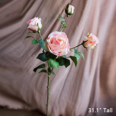 "Artificial Flower Silk 4 Rose Bloom Stem in Light Pink 31"" Tall RusticReach"