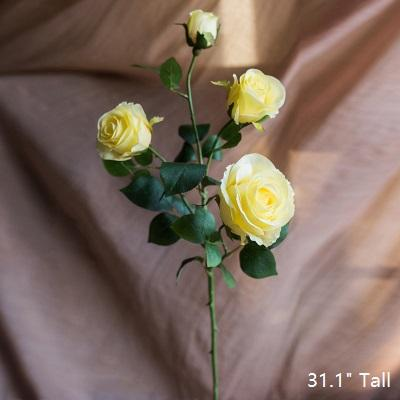 "Artificial Flower Silk 4 Rose Bloom Stem in Yellow 31"" Tall RusticReach"