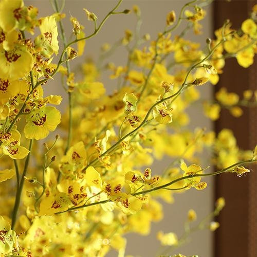 "Artificial Flower Silk Dancing Lady Orchid Stem in Yellow 43"" Tall RusticReach"