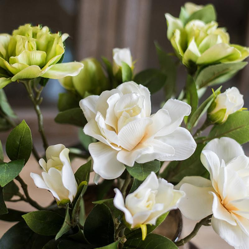 "Artificial Flower Silk Gardenia Stem in Green or White 25"" Tall RusticReach"