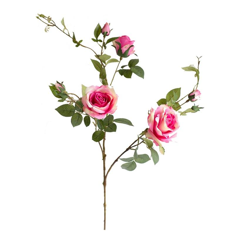"Artificial Flower Silk Rose Bloom and Bud Stem in Pink 32"" Tall RusticReach"