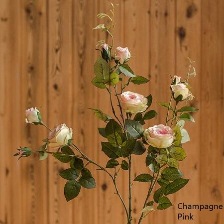 "Artificial Flower Silk Rose Flower Bloom and Bud Stem in Pink 39"" Tall RusticReach"