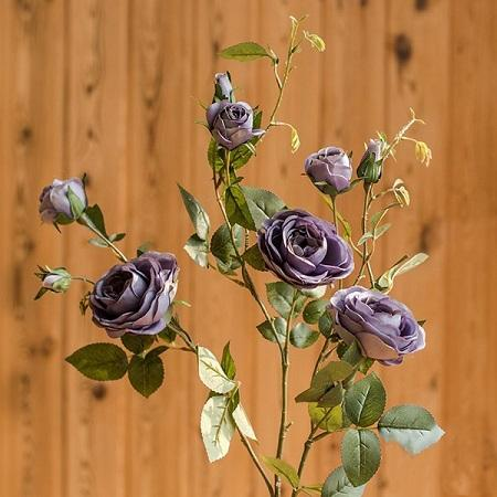 "Artificial Flower Silk Rose Flower Bloom and Bud Stem in Purple 39"" Tall RusticReach"