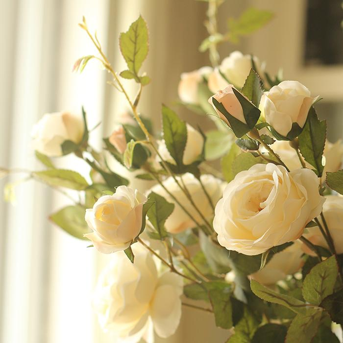 "Artificial Flower Silk Rose Flower Bloom and Bud Stem in White 39"" Tall RusticReach"